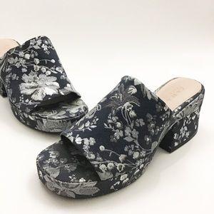 Zara Trafaluc Tapestry Platform Block Heel Slides
